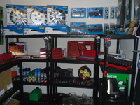 Vehicle spare parts on shelves